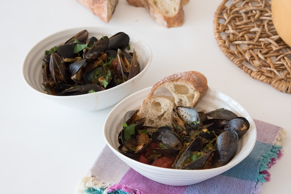 Spanish Inspired Mussels with Chorizo