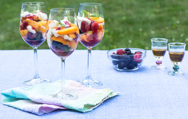 Peaches with Berries Layered with Bourbon Sabayon recipe