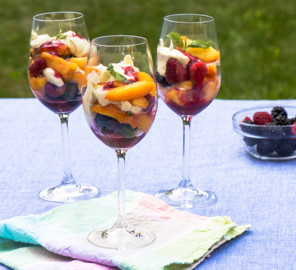 Peaches and Berries Layered with Bourbon Sabayon