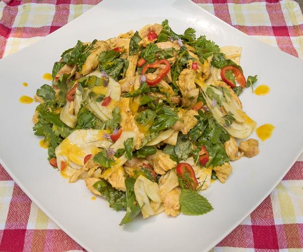 Grilled Chicken Salad with Orange Saffron Dressing