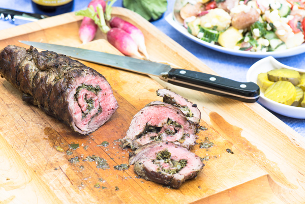 Rolled Flank Steak with Chimichurri Sauce