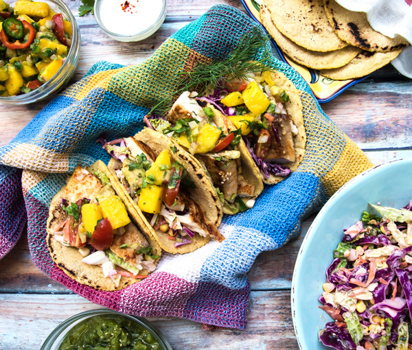Seared Fish Tacos with Mango Avocado Salsa
