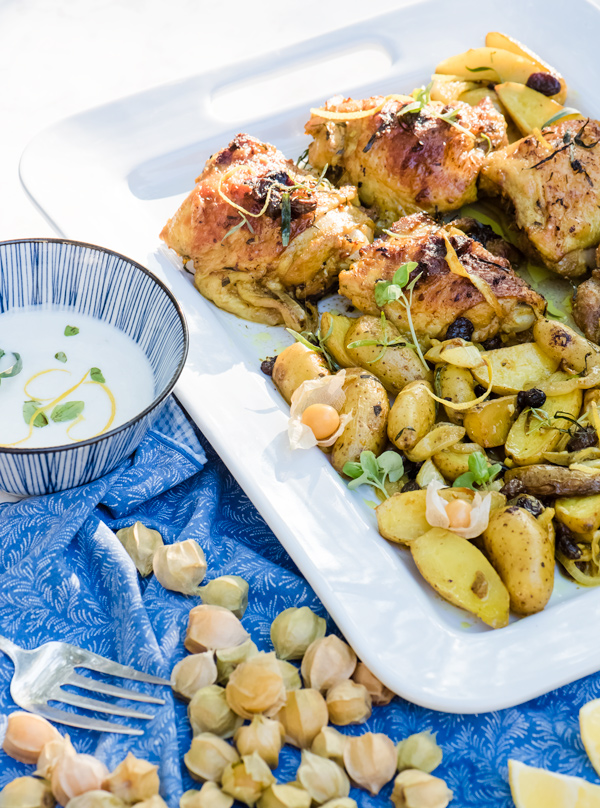 Roasted curry chicken with potatoes and raisins recipe.