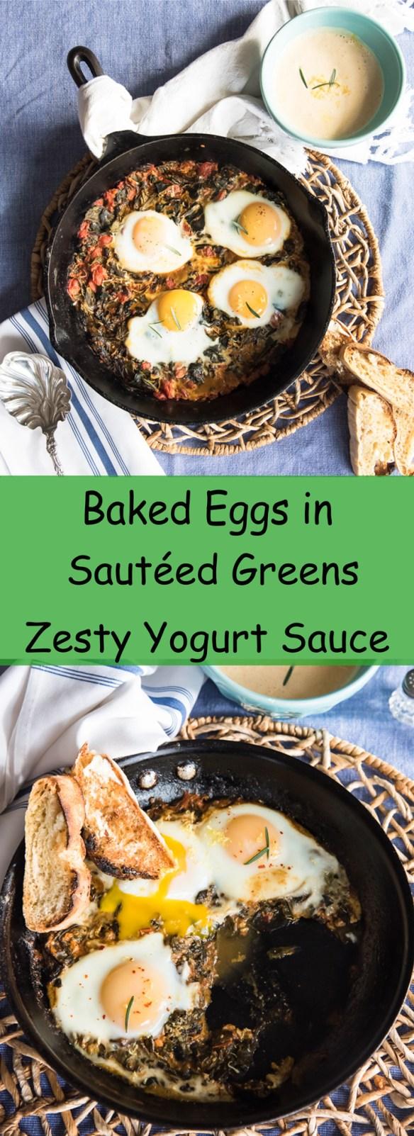 Baked Eggs in Sautéed Greens with a Zesty Yogurt Sauce Recipe. A healty brunch or light supper recipe.