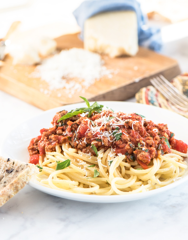Spaghetti with Turkey Meat Sauce Recipe.