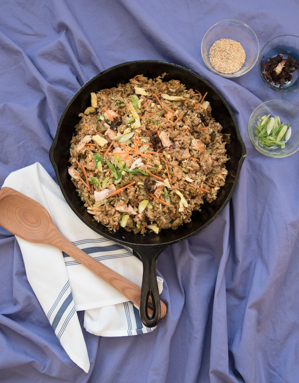 Fried Rice with Salmon and Brussels Sprouts