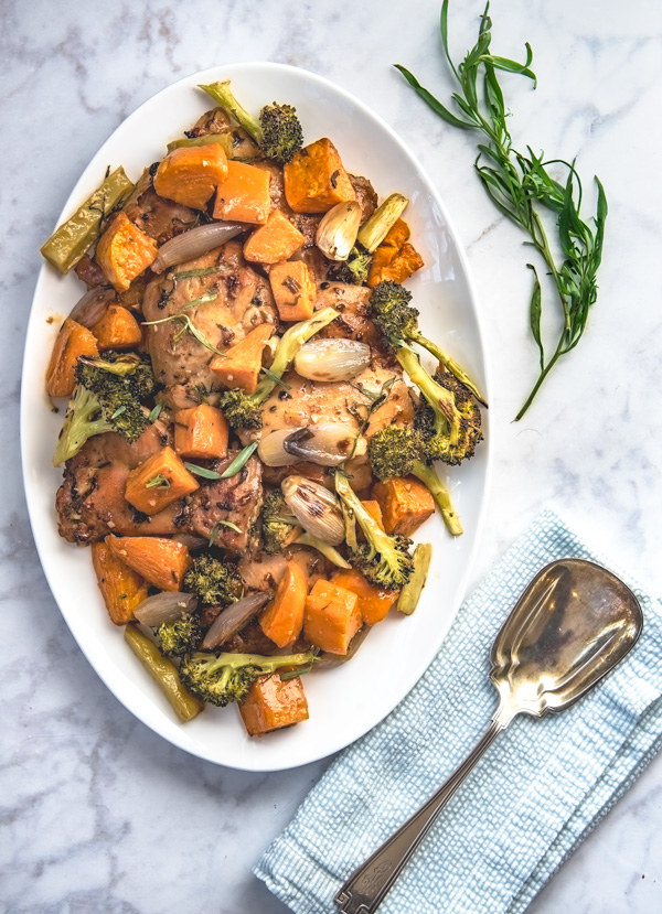 Sriracha chicken with sweet potatoes and broccoli, recipe.