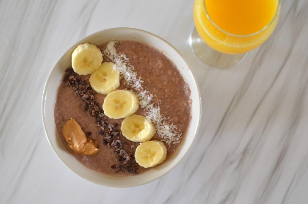 Gachas de avena de chocolate - Desayuno saludable
