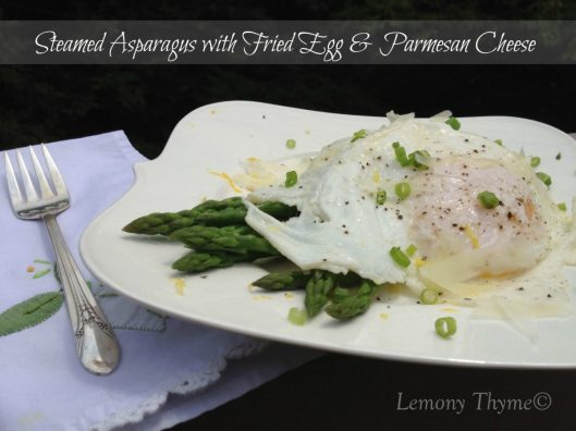 Asparagus with Fried Egg & Parmesan Cheese from Lemony Thyme