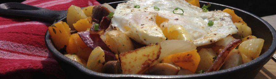Butternut Squash Potatoe Onion Hash with Fried Egg
