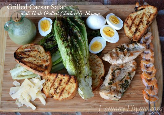 Grilled Caesar Salad with Herb Grilled Chicken & Shrimp from Lemony Thyme