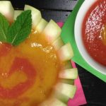 Chilled Tropical Watermelon Soup with Peach Puree