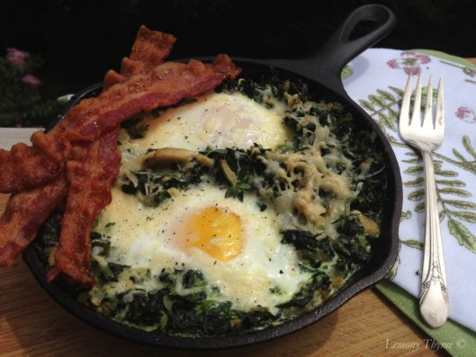 Skillet Creamed Spinach with Eggs and Bacon