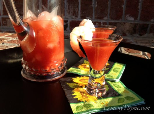 Bloody Caesar Spicy Shrimp Shooters