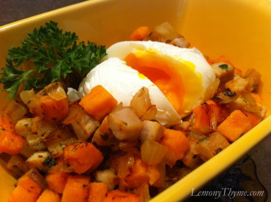 Pork & Sweet Potato Hash with Poached Egg