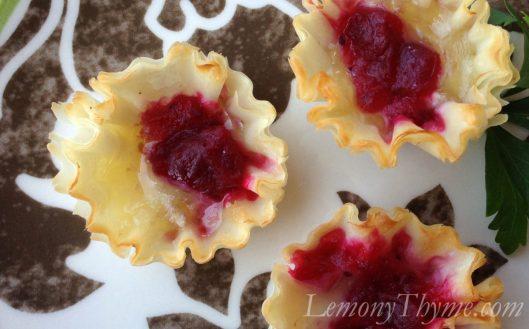 Cranberry Orange & Ginger Chutney Brie Tarts
