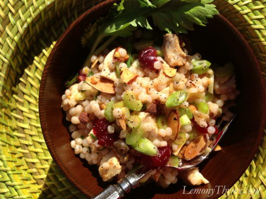 Curried Turkey and Israeli Couscous Salad {with Dried Cranberries}