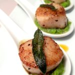 Pan Seared Sea Scallops in Sage Brown Butter with Sweet Pea Puree