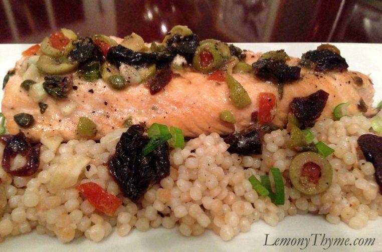 Salmon Mirabella over Toasted Israeli Couscous