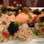 Salmon Mirabella over Toasted Israeli Couscous