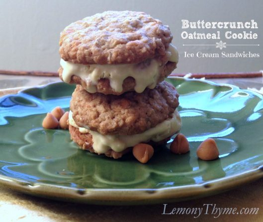 Buttercrunch Oatmeal Cookie Ice Cream Sandwiches from Lemony Thyme
