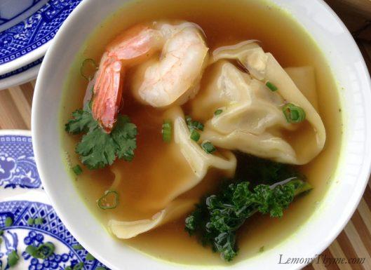 Wonton Soup with Shrimp & Kale