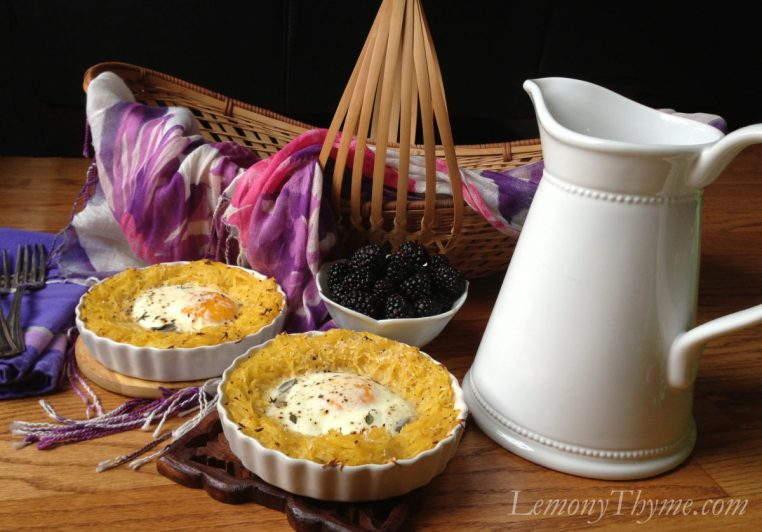Eggs Baked in Herbed Spaghetti Squash