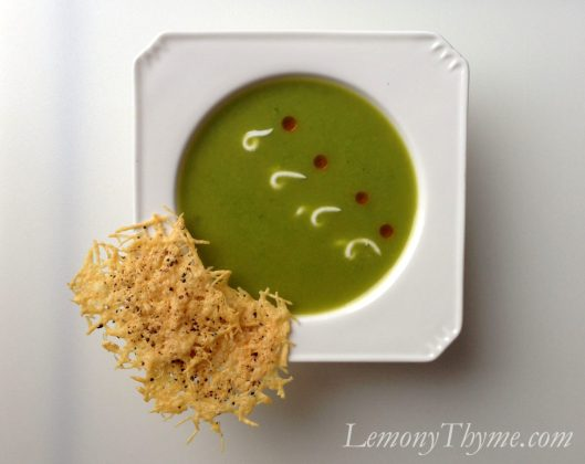 Sweet Pea & Parmesan Soup with Parmesan Crisps