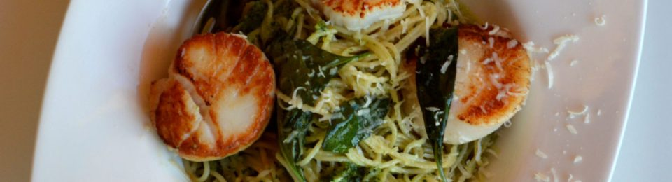Pan Seared Sea Scallops with Basil Pesto Pasta