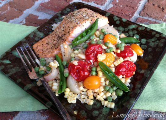 Salmon with Roasted Vegetable Orzo
