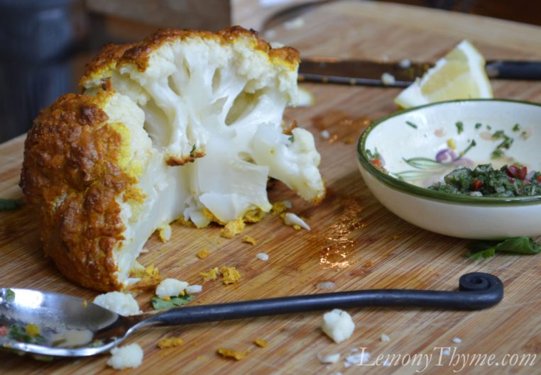 Whole Roasted Tandoori Cauliflower with Mint Chutney