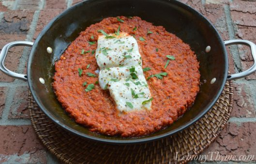 Baked Halibut in Romesco Sauce