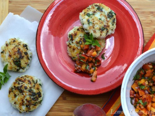 Crisp Cod Cakes with Peach Basil Relish