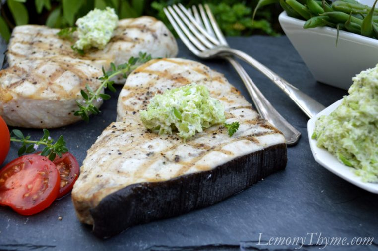 Grilled Swordfish with Lima Bean & Herb Butter