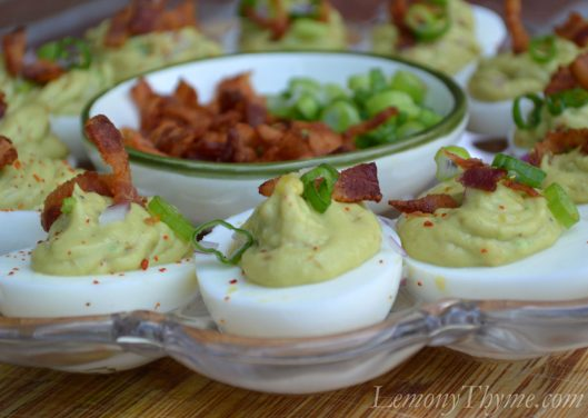 Guacamole Deviled Eggs with Crispy Bacon