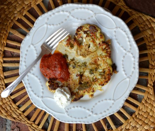 Roasted Cauliflower Steaks with Herbed Ricotta & Tomato Sauce