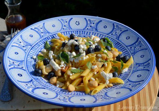 Blueberry Basil & Goat Cheese Pasta Salad