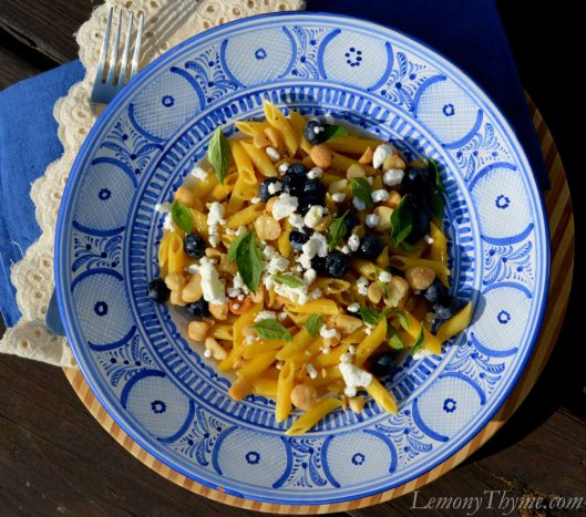 Blueberry Basil & Goat Cheese Pasta Salad