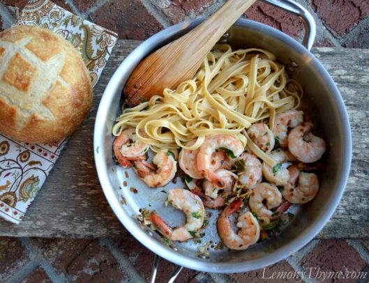 Sage Brown Butter Shrimp Scampi with Fettucini