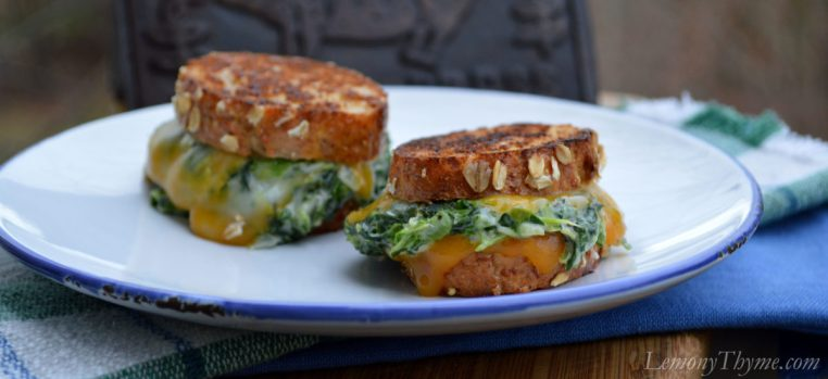 Spinach Arfredo Grilled Cheese Sliders
