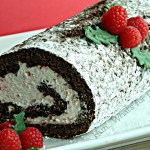 Chocolate Roll with Candy Cane Whipped Cream