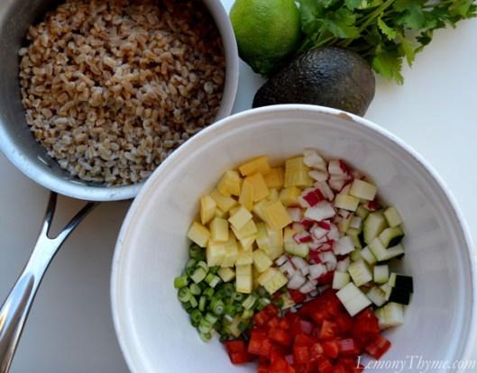 Avocado, Cilantro & Lime Farro Salad {with Fresh Veggies}