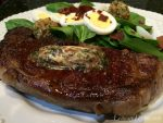 USDA Prime NY Strip Steaks with Worcestershire-Chive Butter