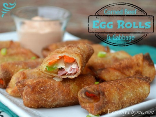 Corned Beef & Cabbage Egg Rolls with Russian Dressing from Lemony Thyme