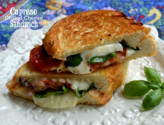 Caprese Grilled Cheese Sandwich from Lemony Thyme