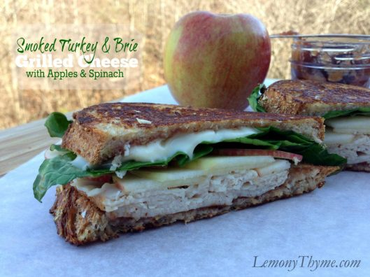 Smoked Turkey & Brie Grilled Cheese with Apples & Spinach from Lemony Thyme