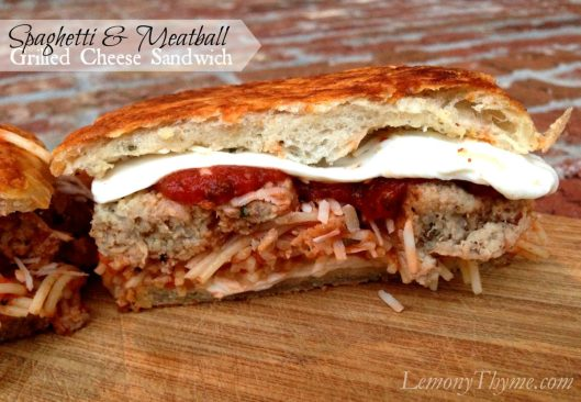 Spaghetti & Meatball Grilled Cheese Sandwich from Lemony Thyme