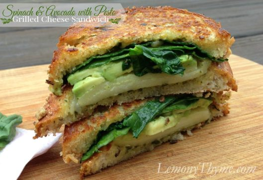 Spinach & Avocado with Pesto Grilled Cheese Sandwich from Lemony Thyme