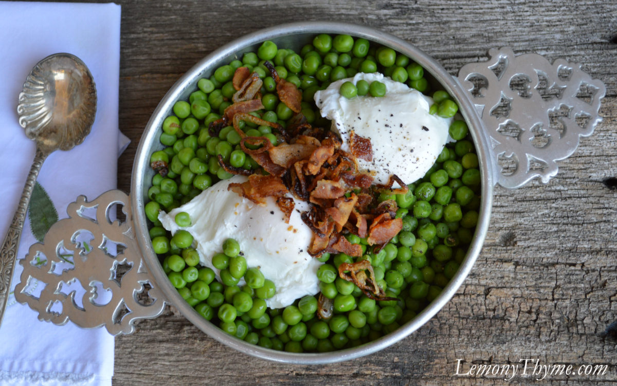 Sweet Peas with Bacon & Shallot topped with Poached Egg2