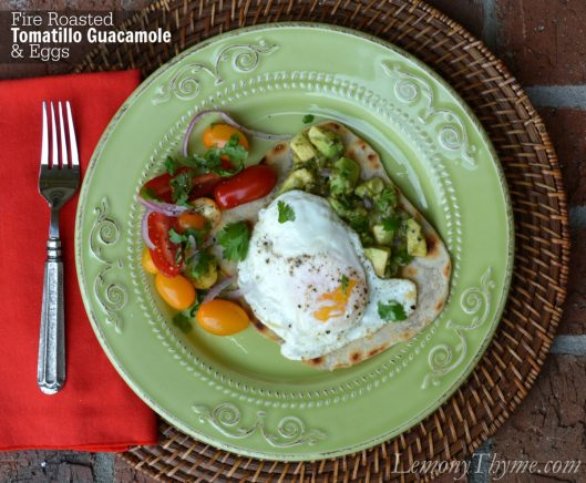 Fire Roasted Tomatillo Guacamole & Eggs from Lemony Thyme